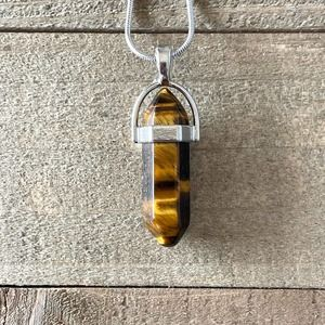 Tigers Eye Crystal Necklace on Silver Snake Chain